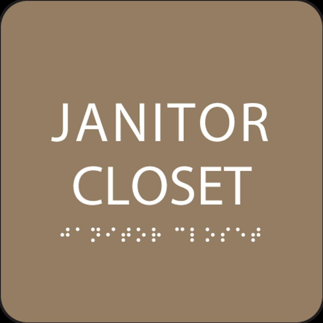 Brown Janitor Closet Tactile Sign