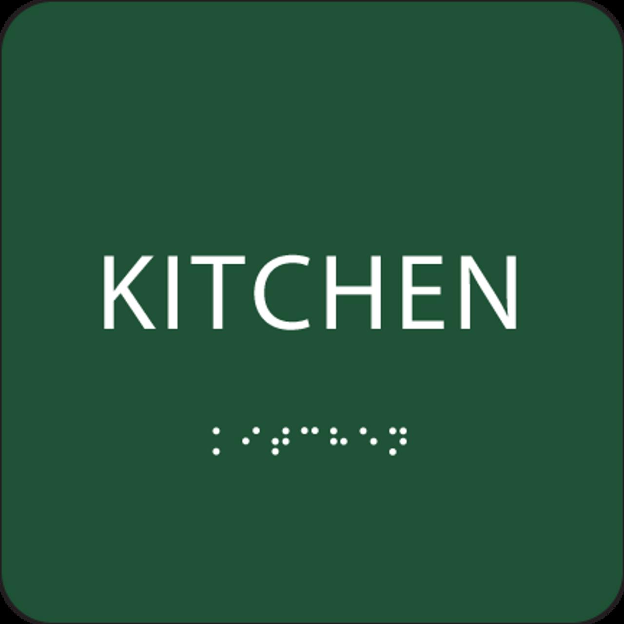 Green Braille Kitchen Sign