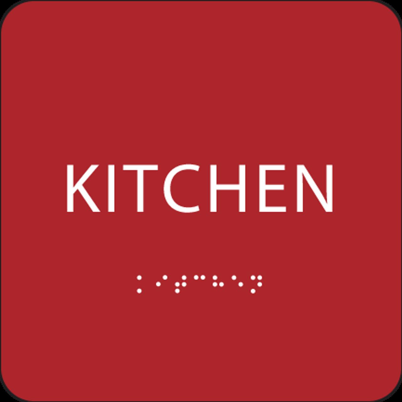 Red ADA Kitchen Sign