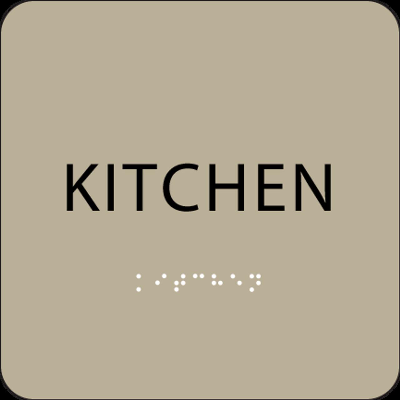 Brown Braille Kitchen Sign