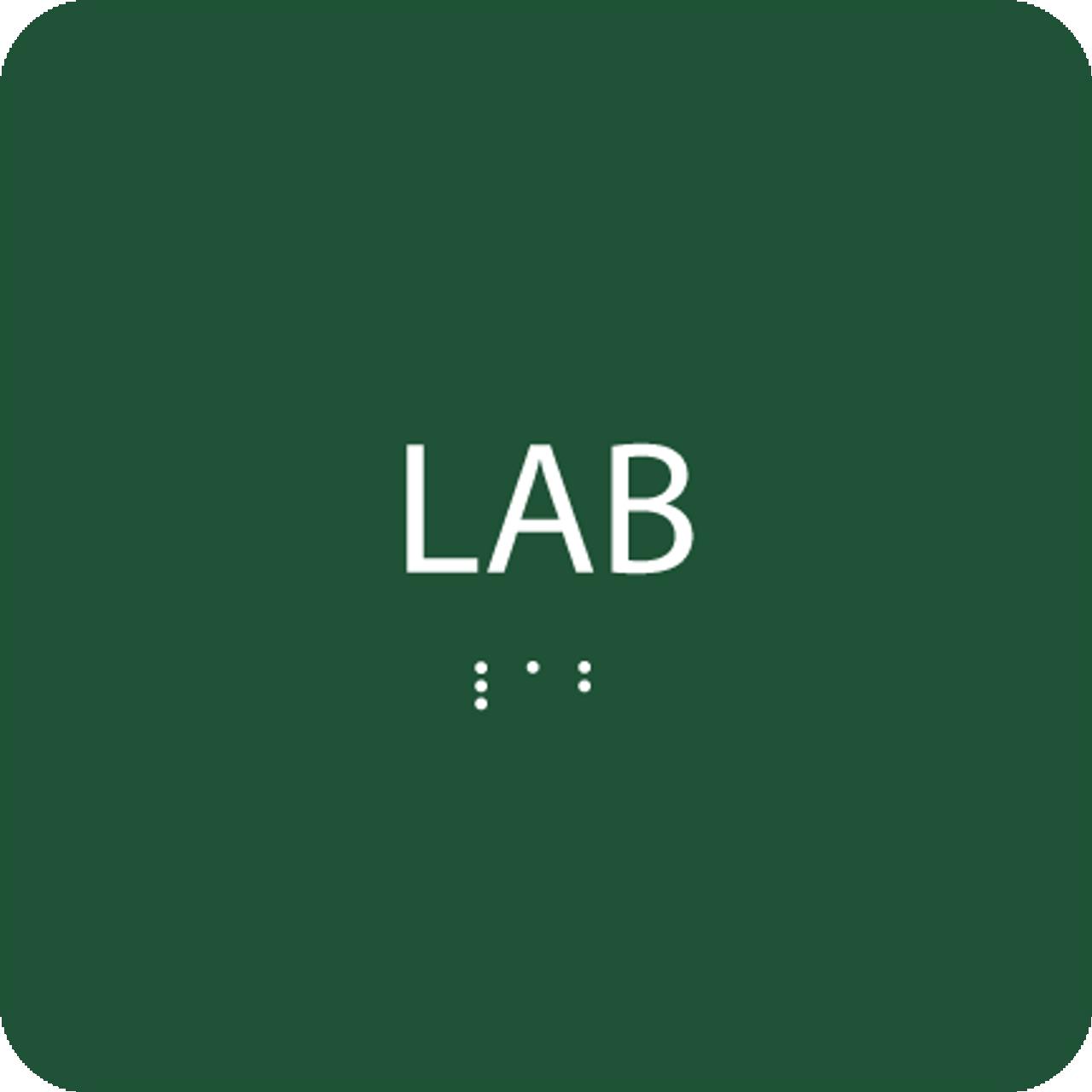 Green Lab Braille Sign