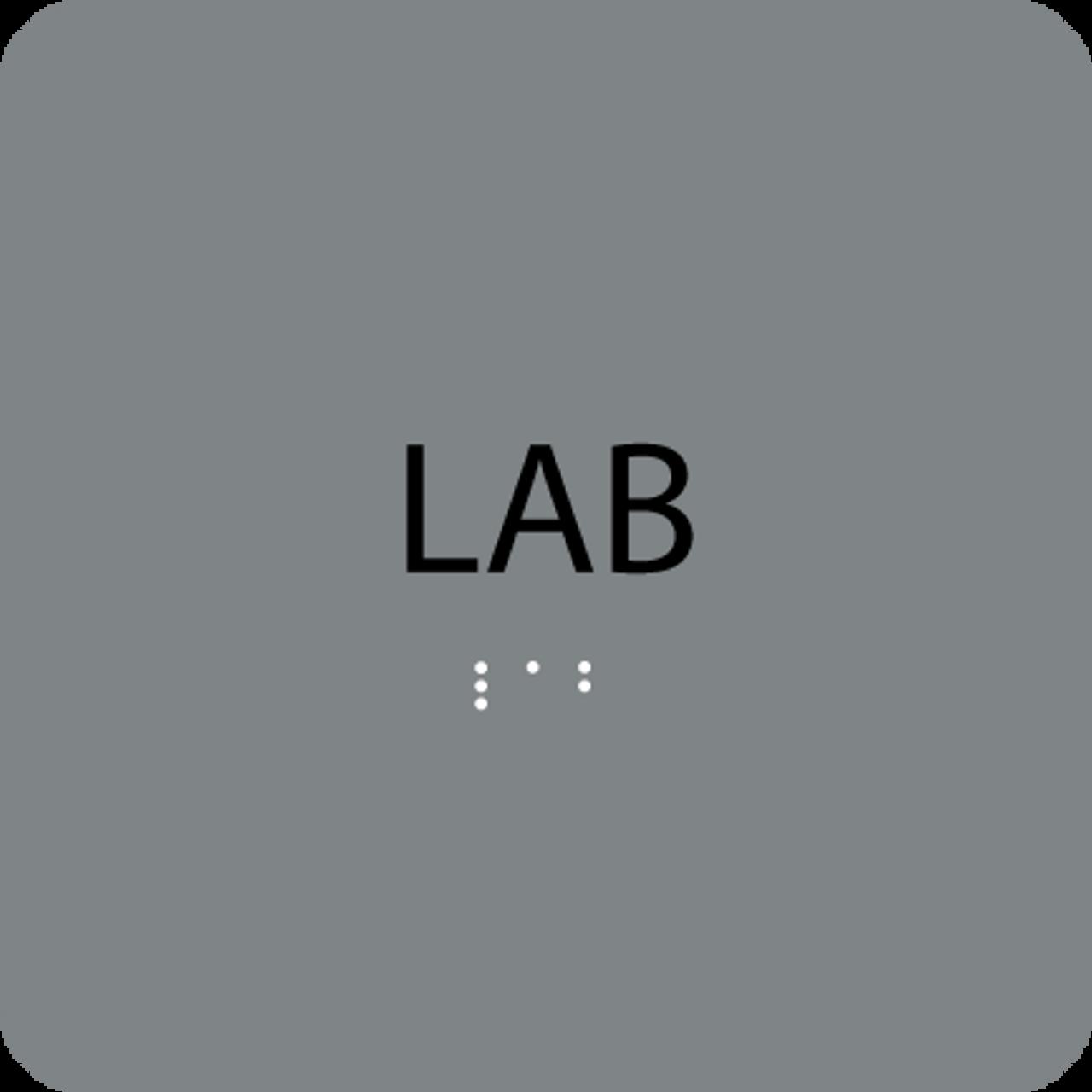 Grey Lab Braille Sign