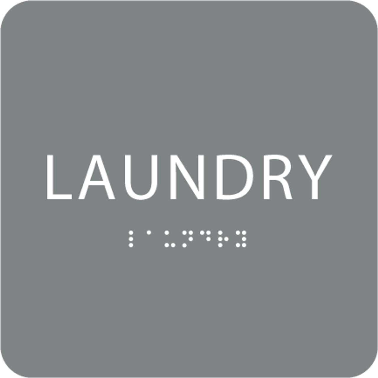 Grey Laundry Braille Sign