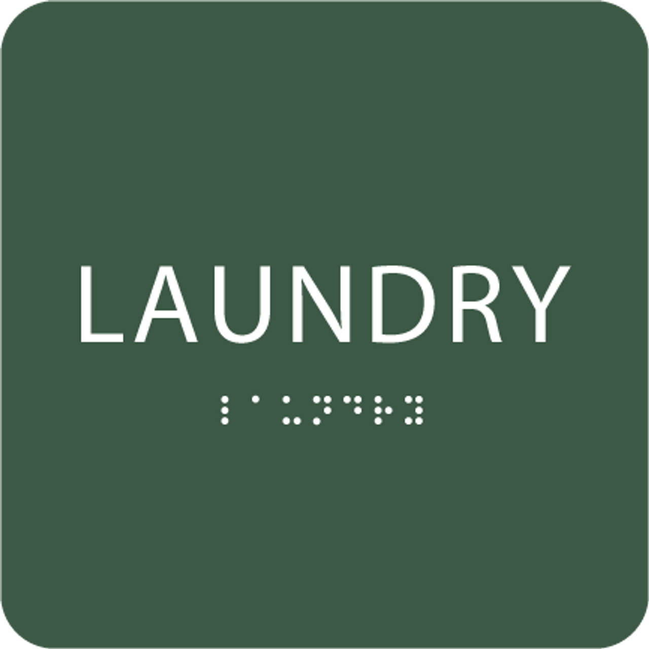 Green Laundry Tactile Sign