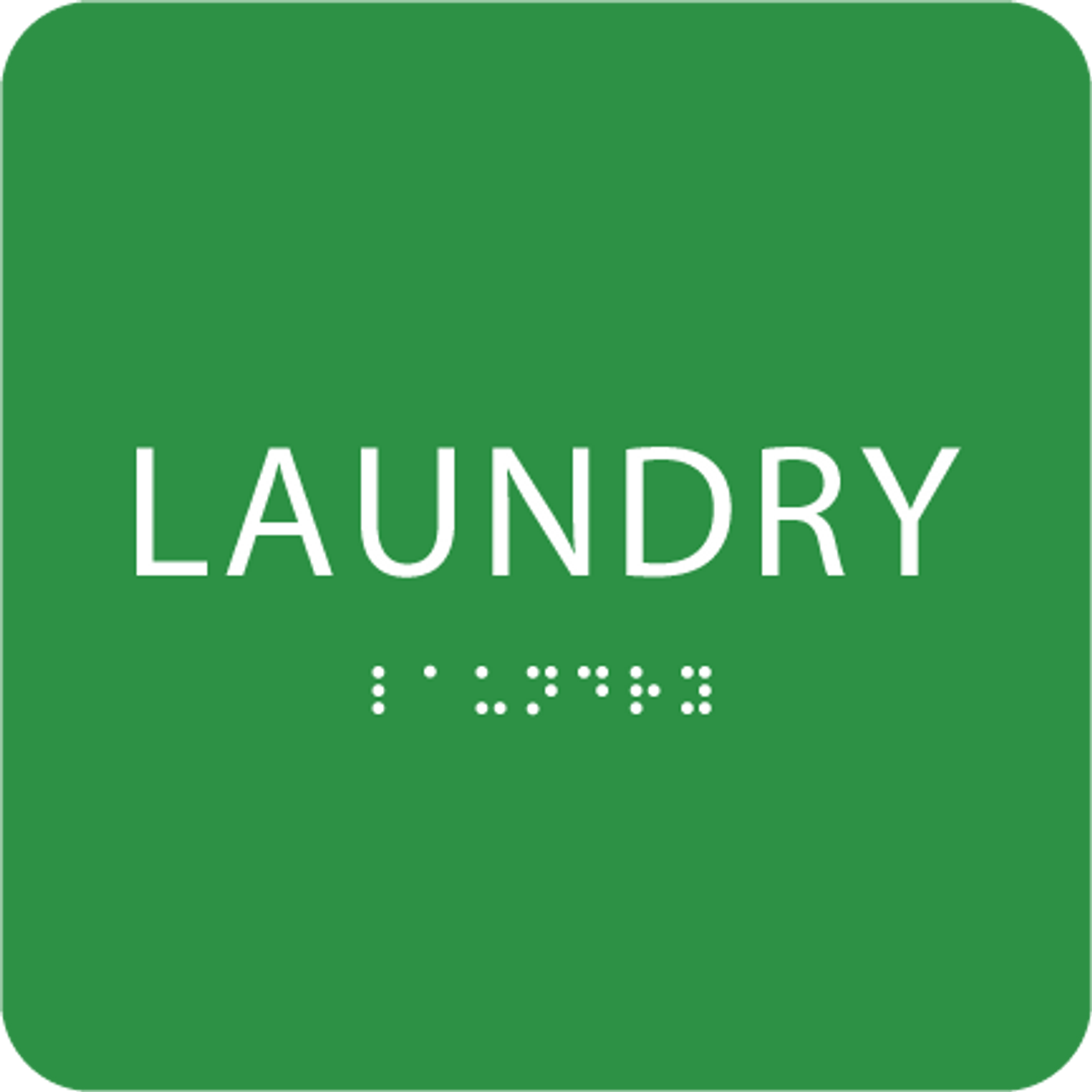Green Laundry Braille Sign