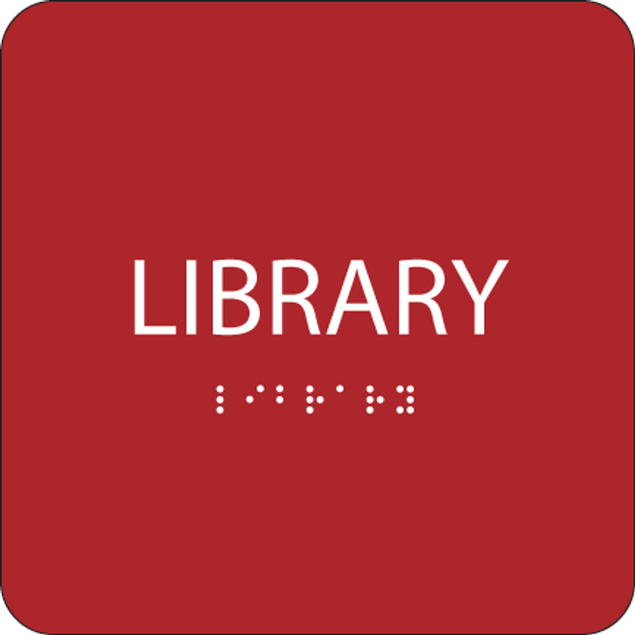 Red Library ADA Sign