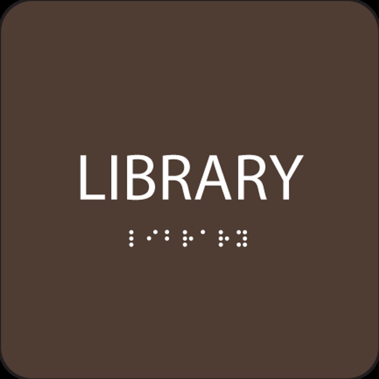 Dark Brown Library ADA Sign