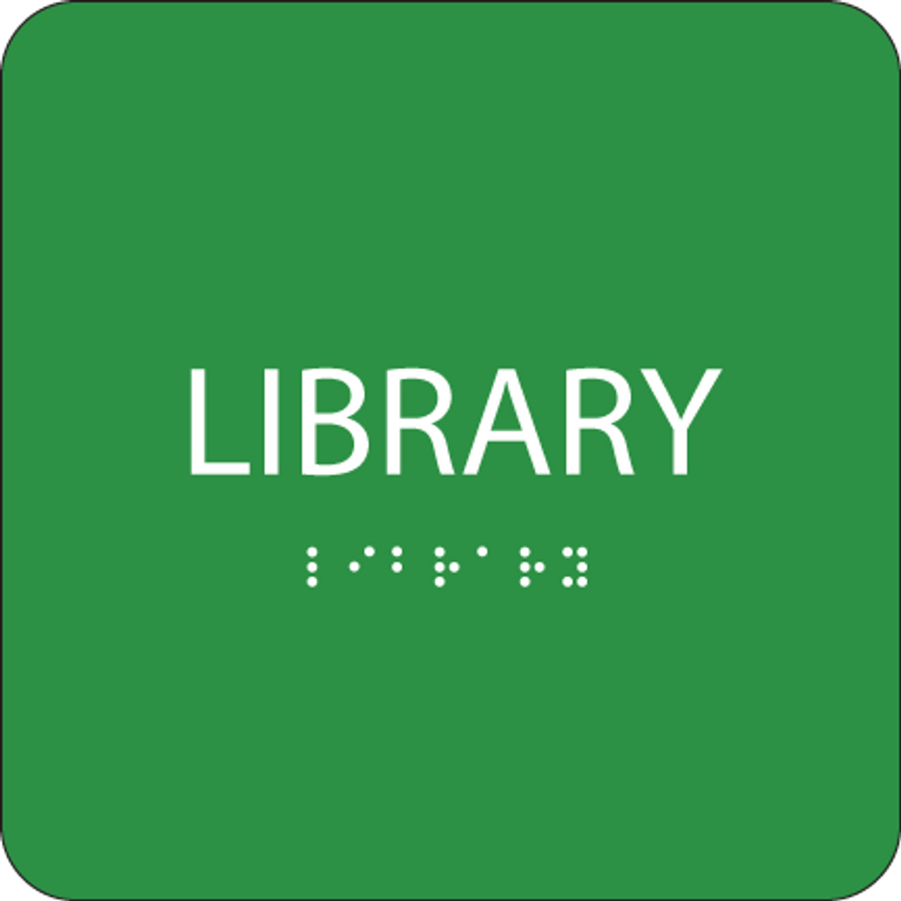Green Library Braille Sign