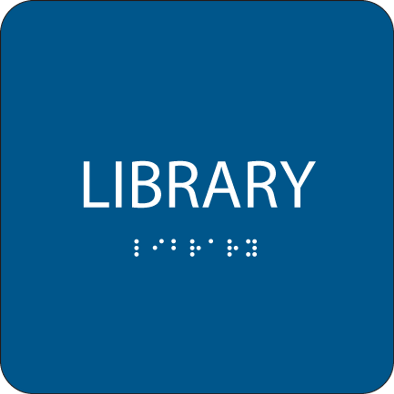 Blue Library Tactile Sign
