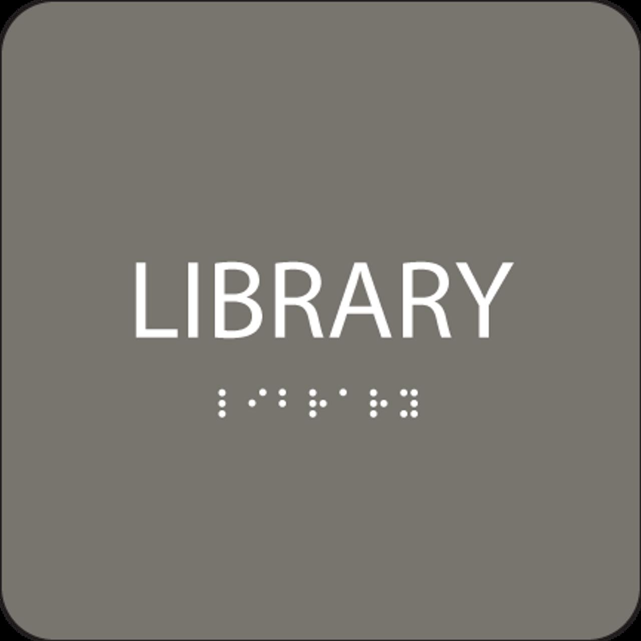 Dark Grey Library ADA Sign
