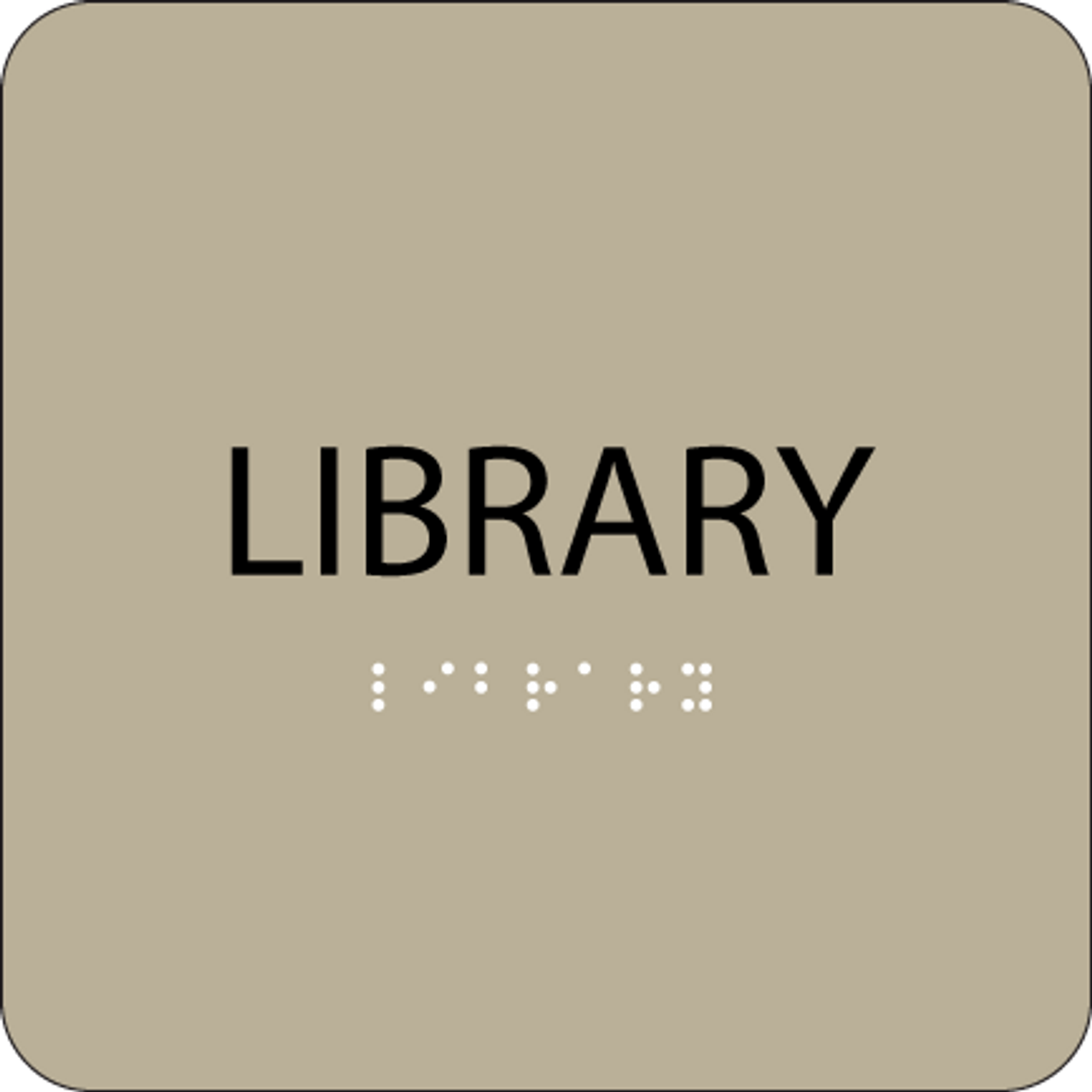 Brown Library Braille Sign