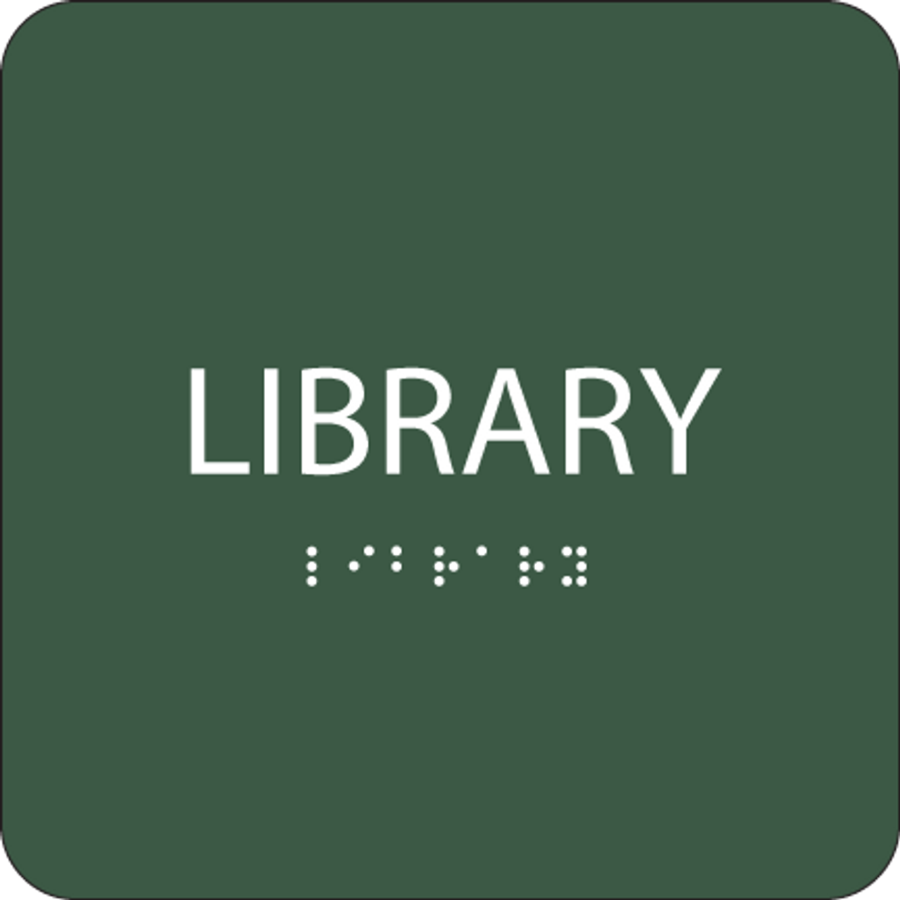 Green Library Tactile Sign