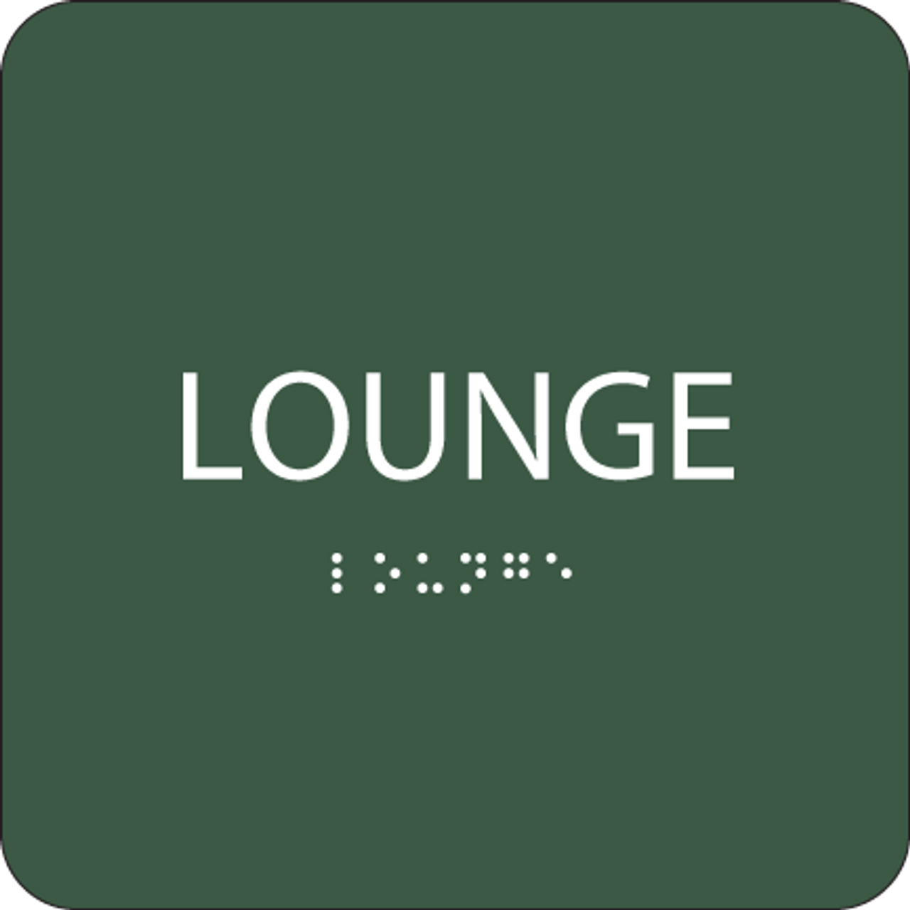 Green Lounge Tactile Sign