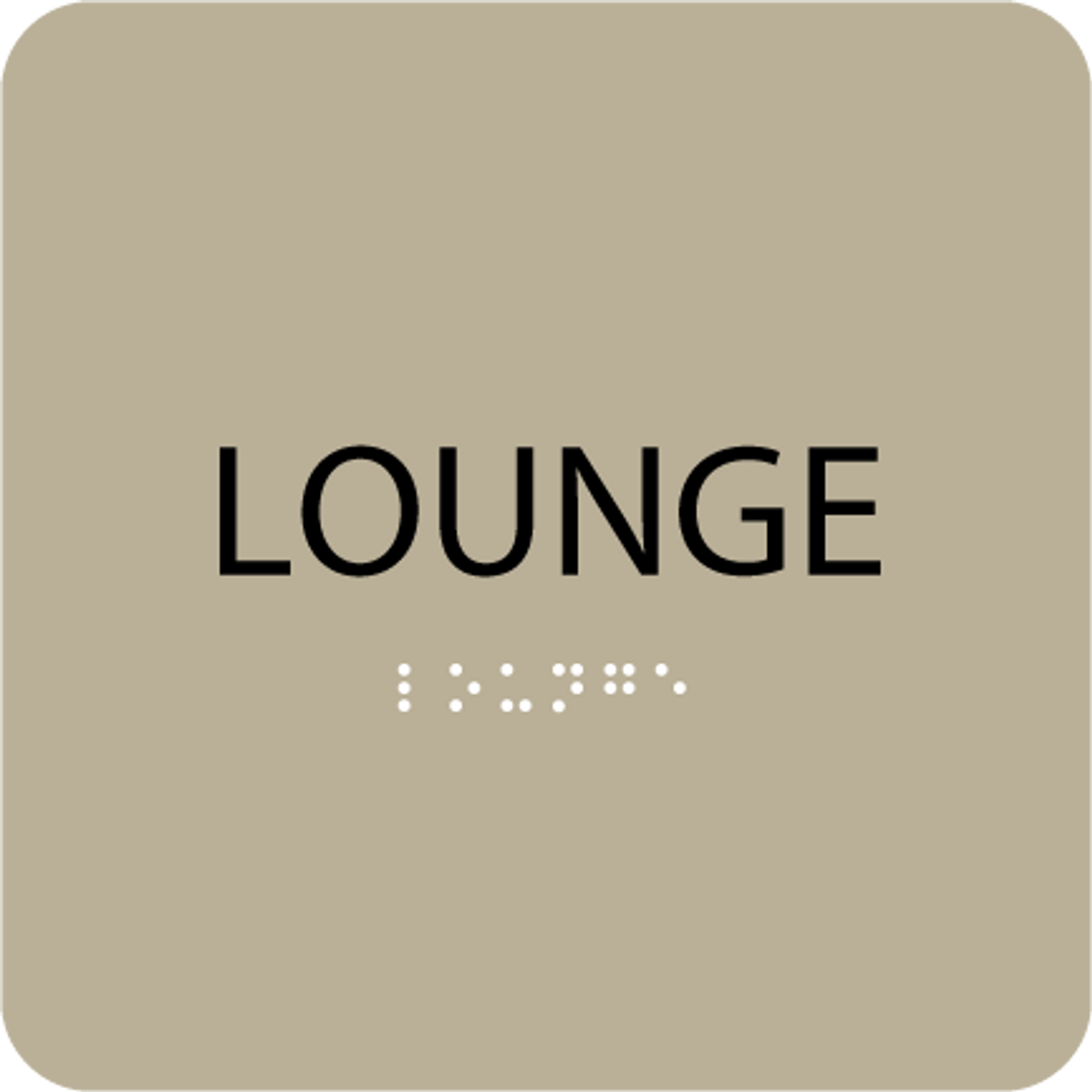 Brown Lounge Braille Sign