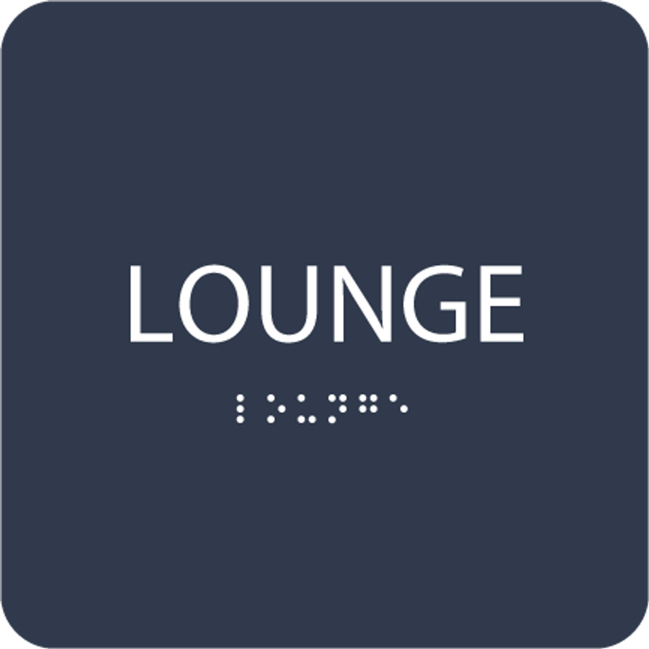 Dark Blue Lounge Braille Sign