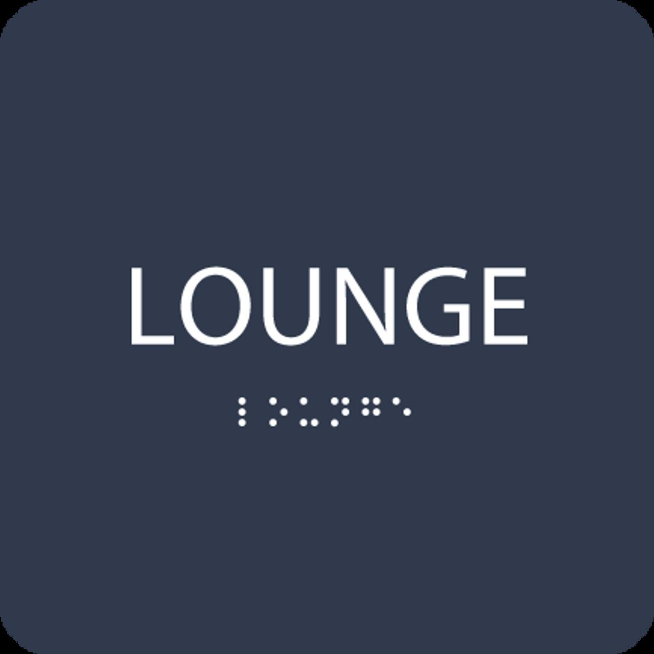 Dark Blue Lounge Braille Sign