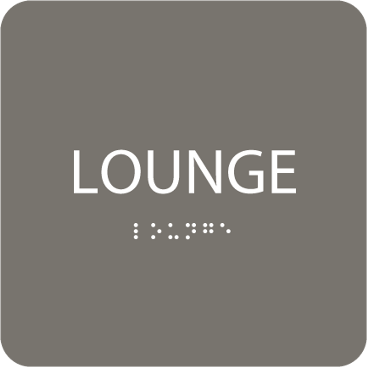 Dark Grey Lounge Tactile Sign
