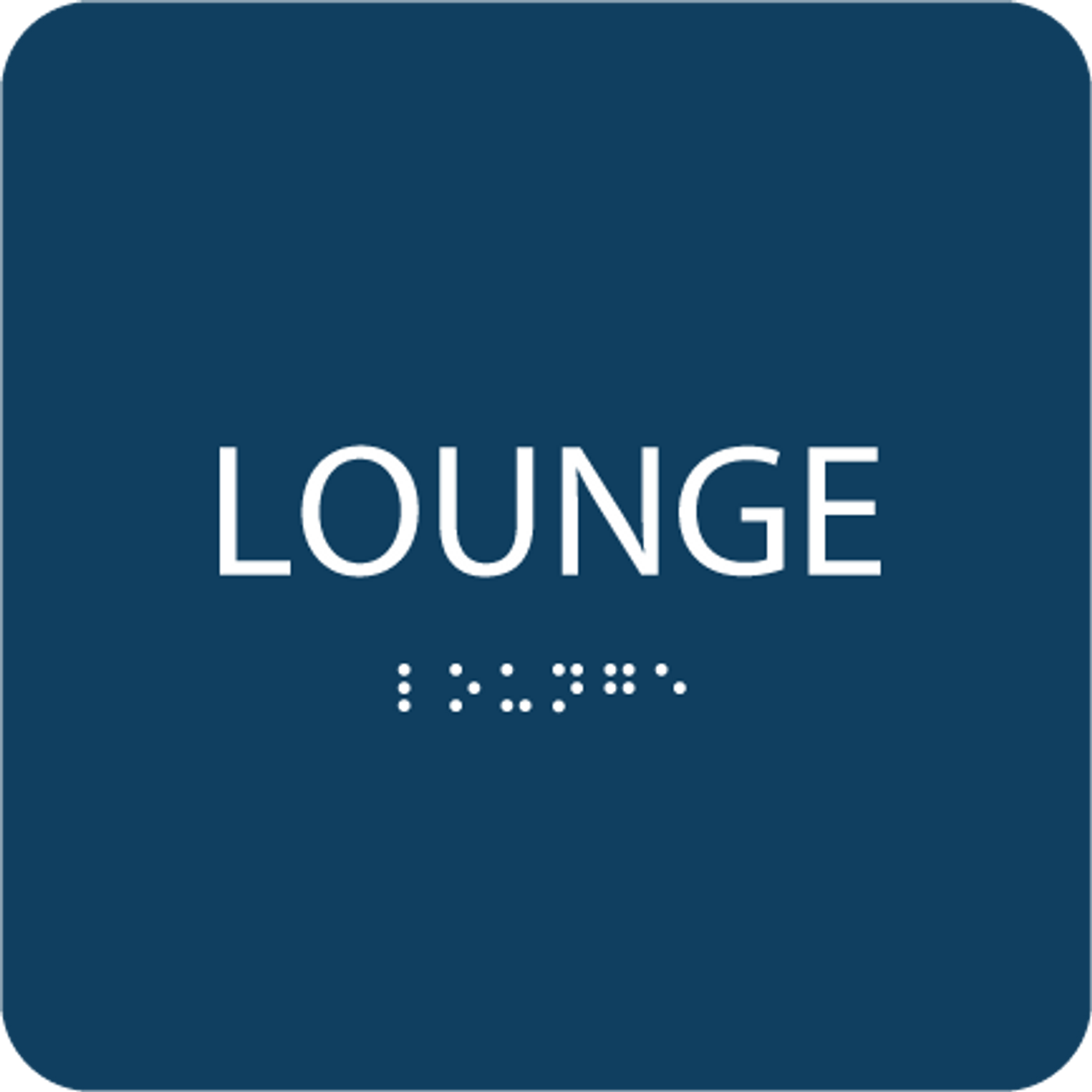 Blue Lounge Tactile Sign