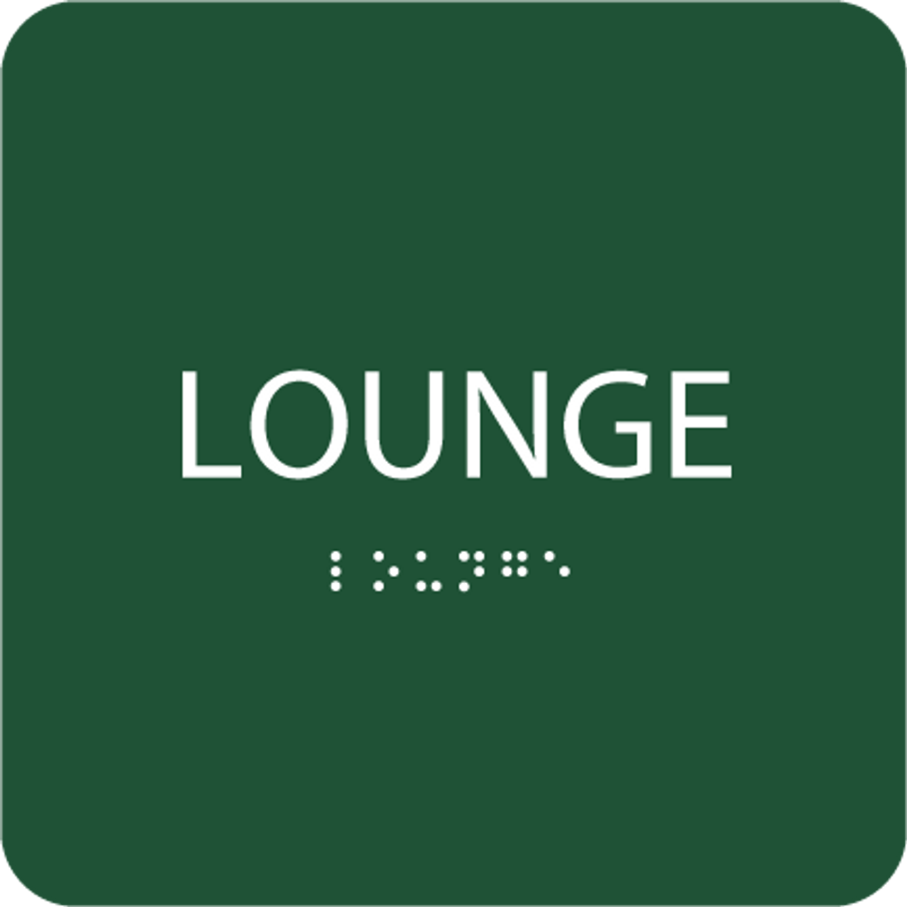 Green Lounge Braille Sign