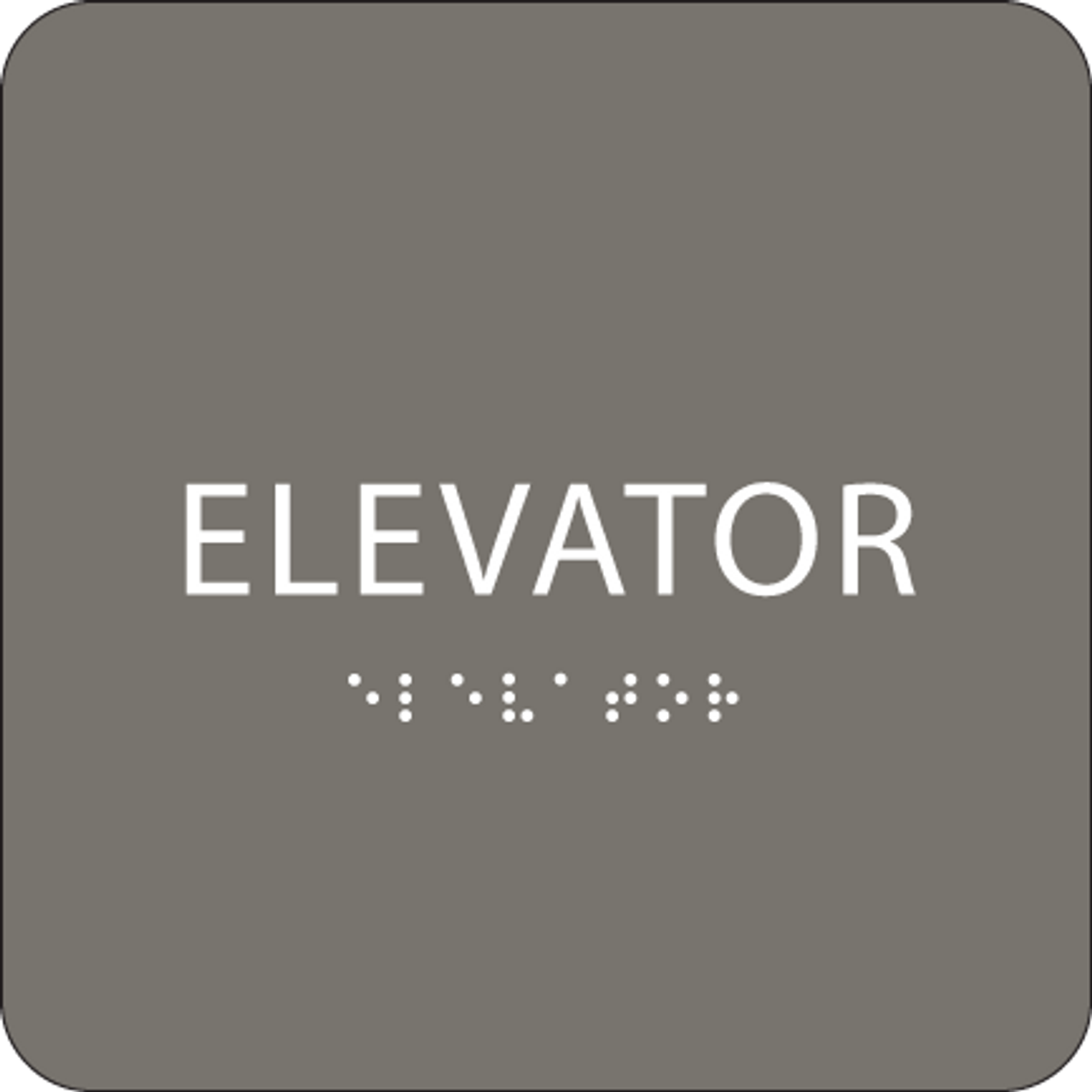 Dark Grey ADA Elevator Sign