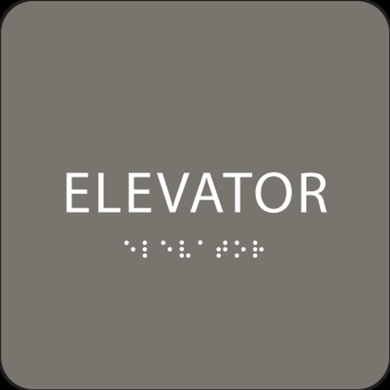 Dark Grey ADA Elevator Sign