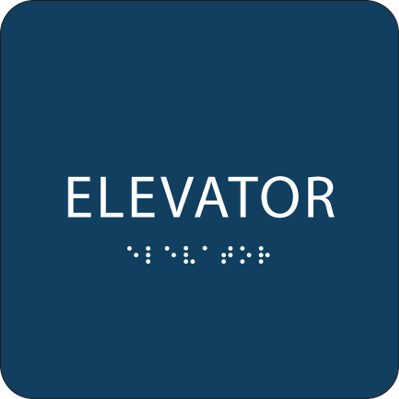 Dark Blue ADA Elevator Sign