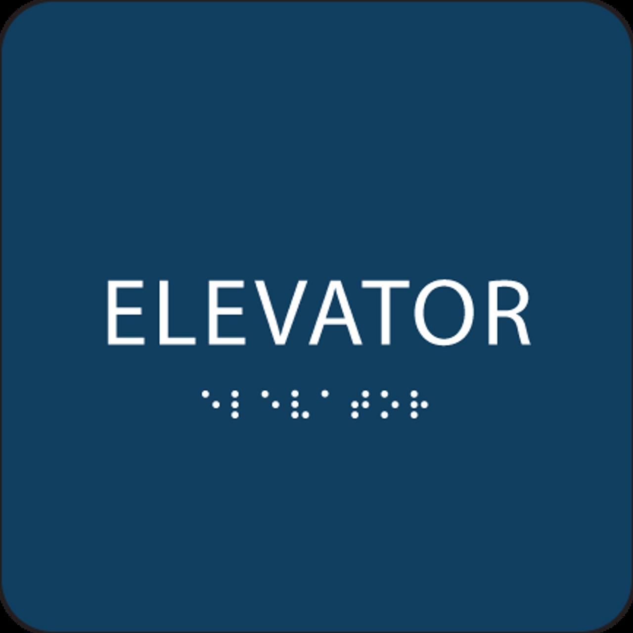 Dark Blue ADA Elevator Sign