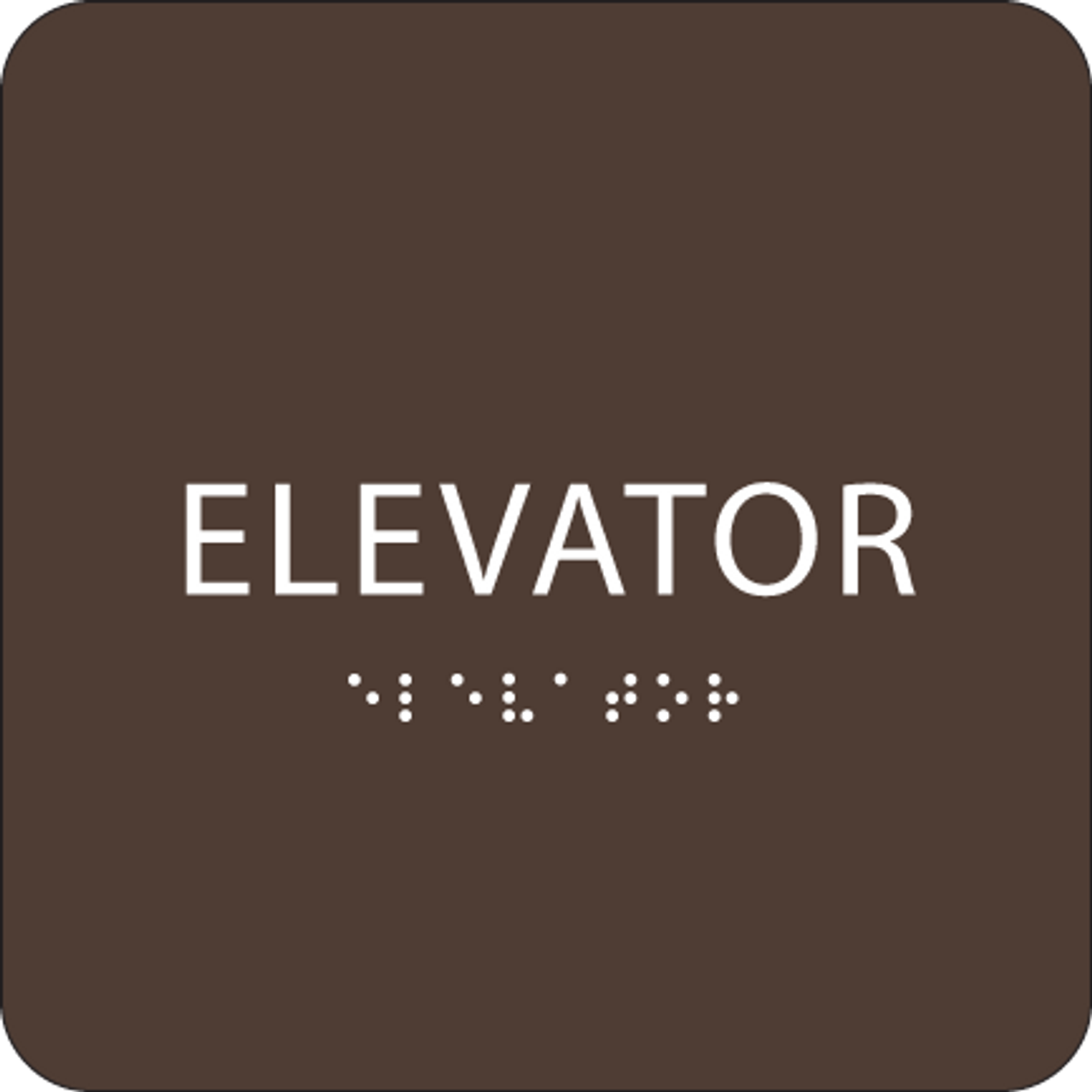 Dark Brown ADA Elevator Sign