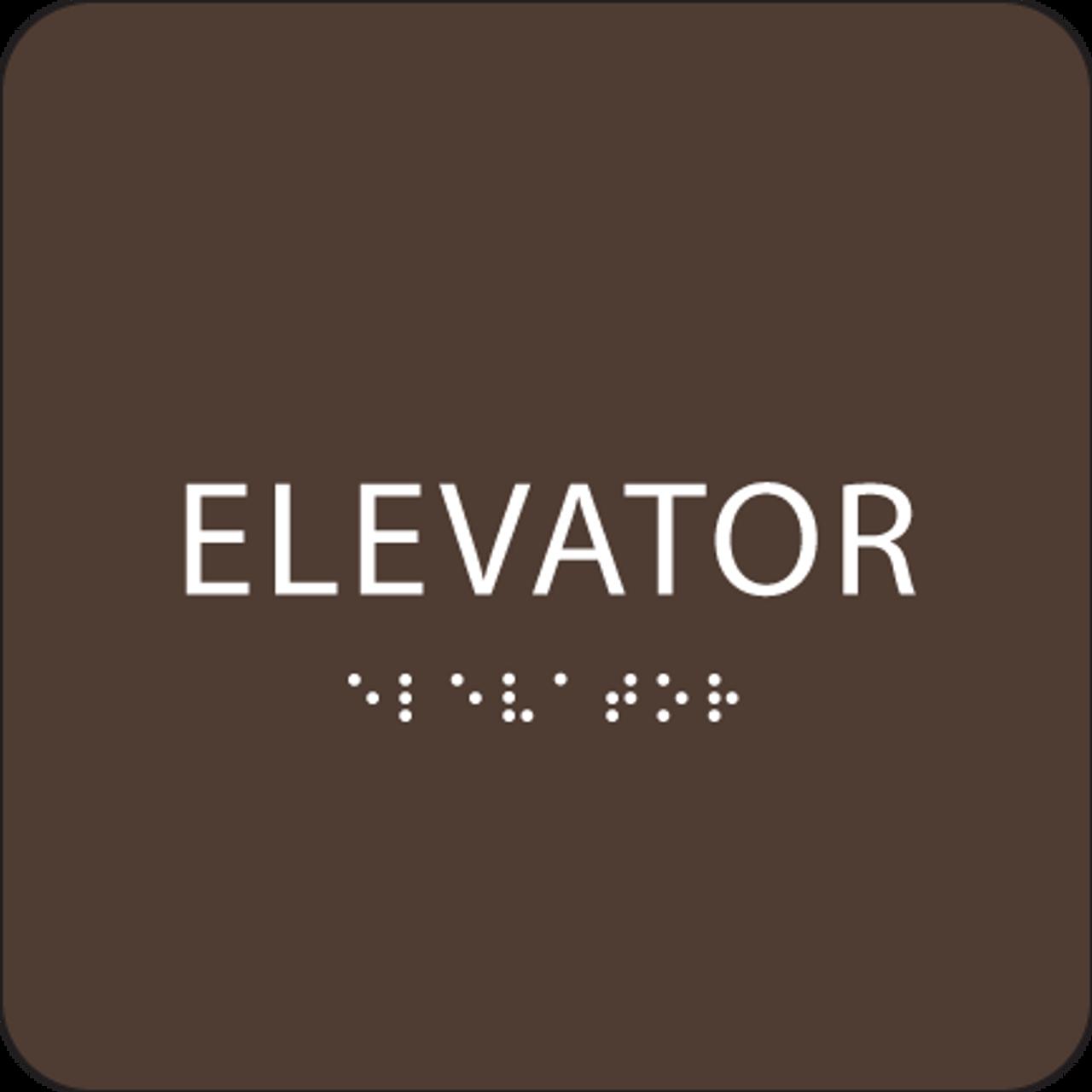Dark Brown ADA Elevator Sign