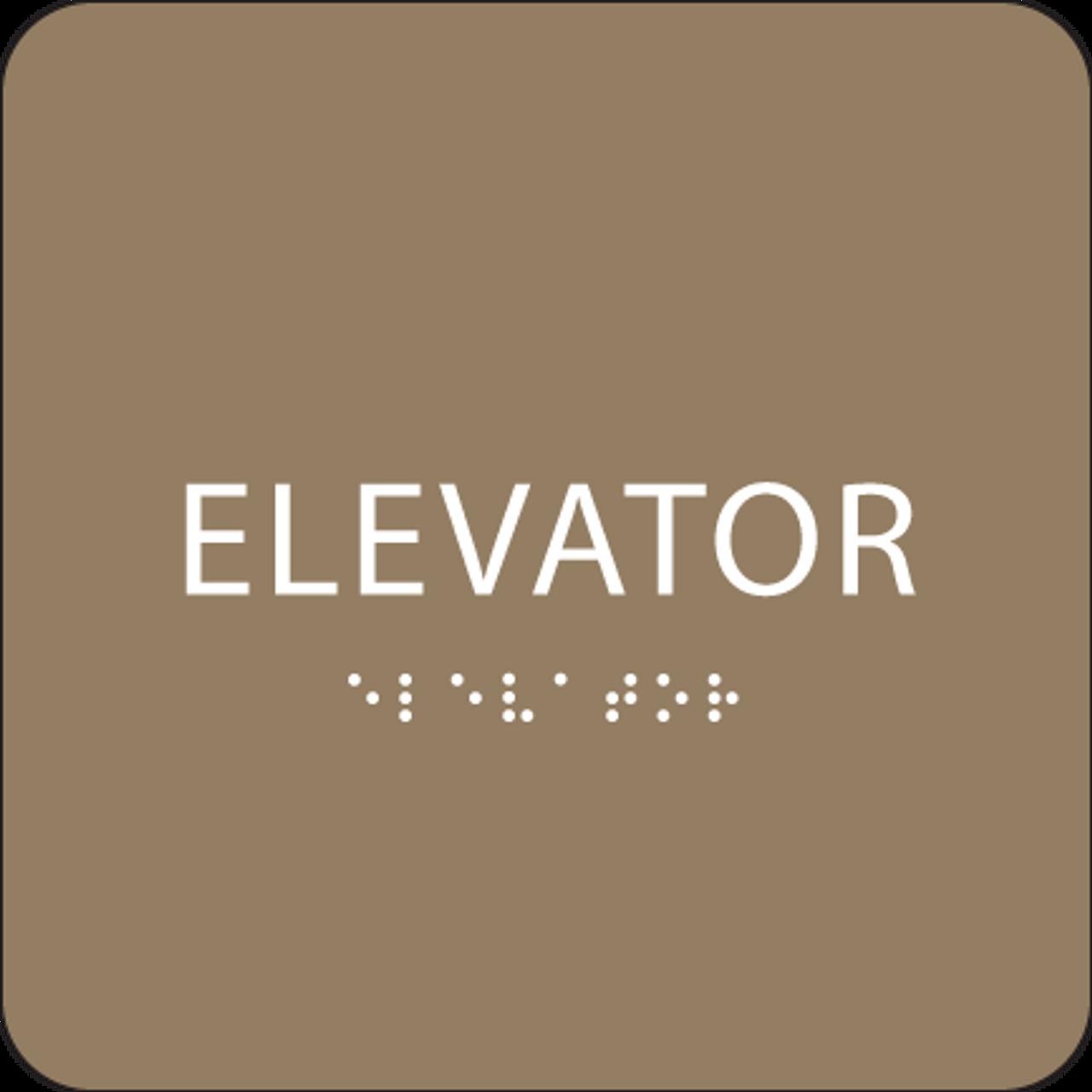 Brown ADA Elevator Sign