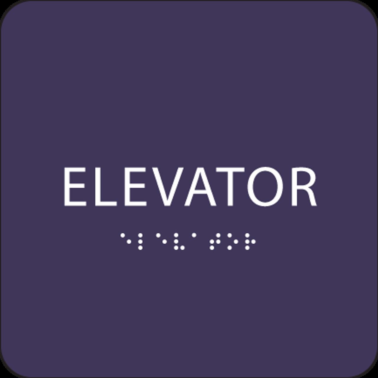 Purple ADA Elevator Sign