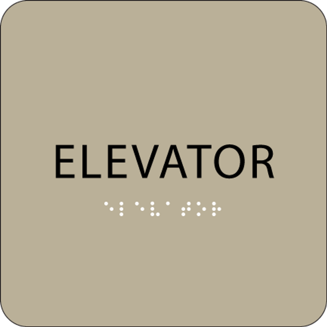 Brown Braille Elevator Sign