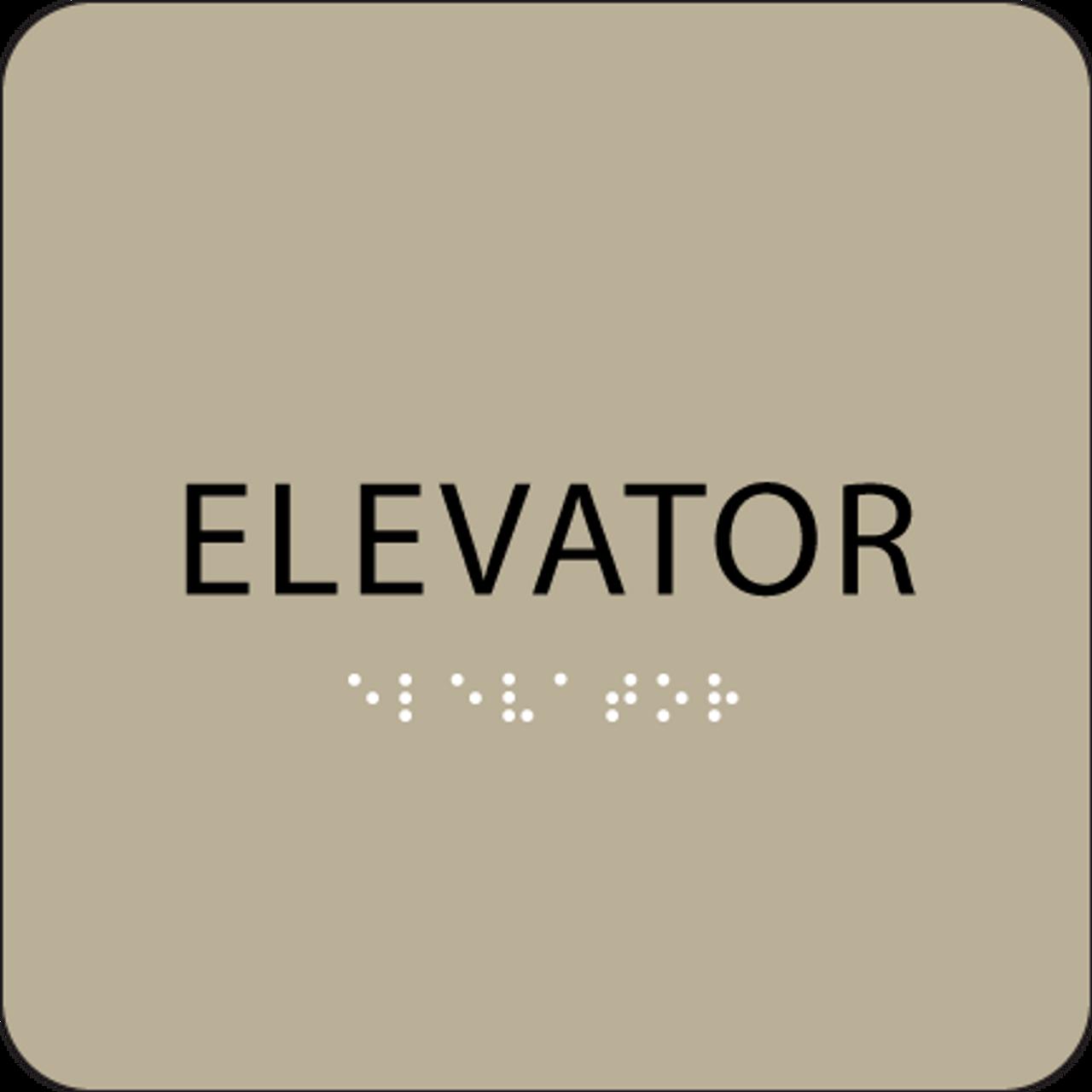 Brown Braille Elevator Sign