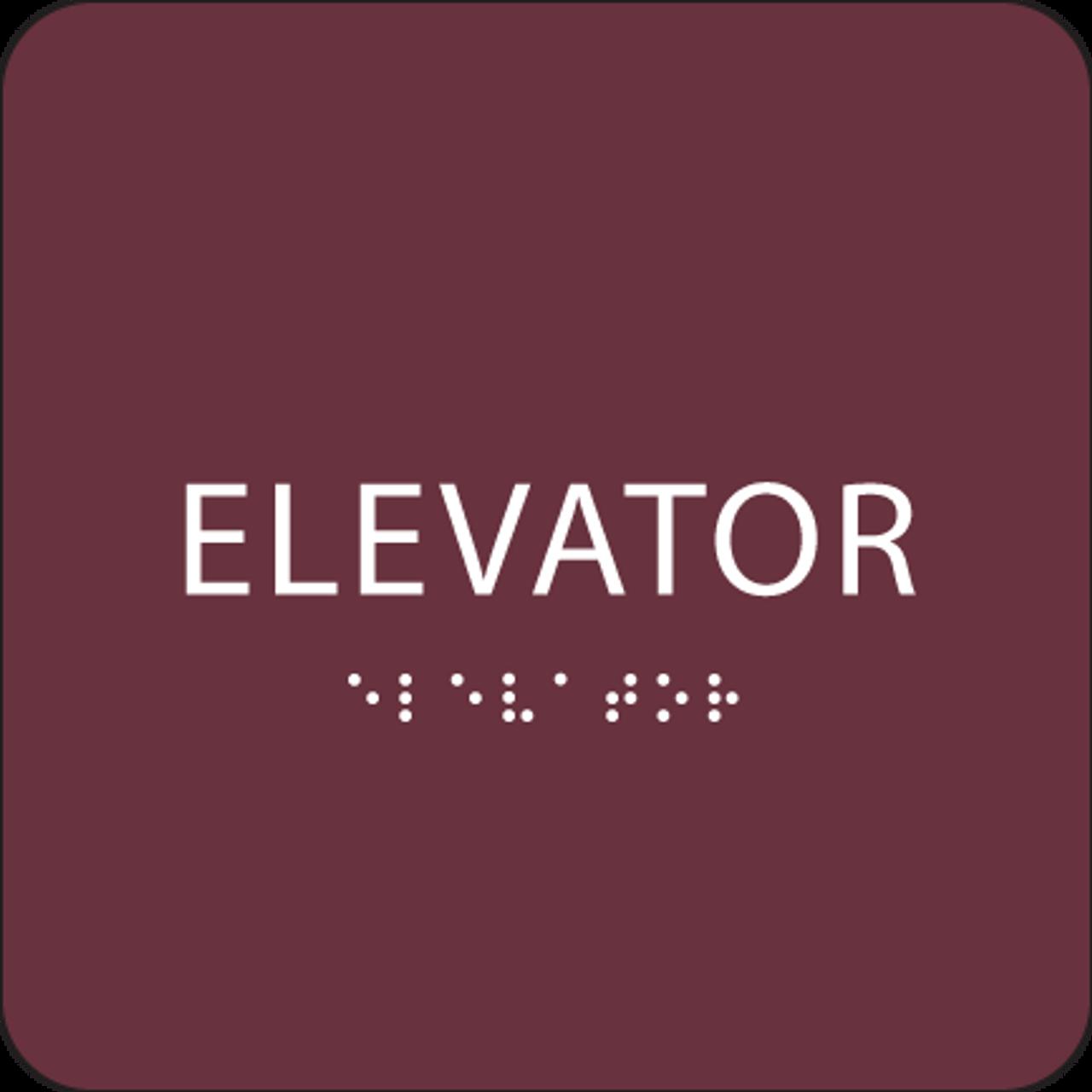 Burgundy ADA Elevator Sign