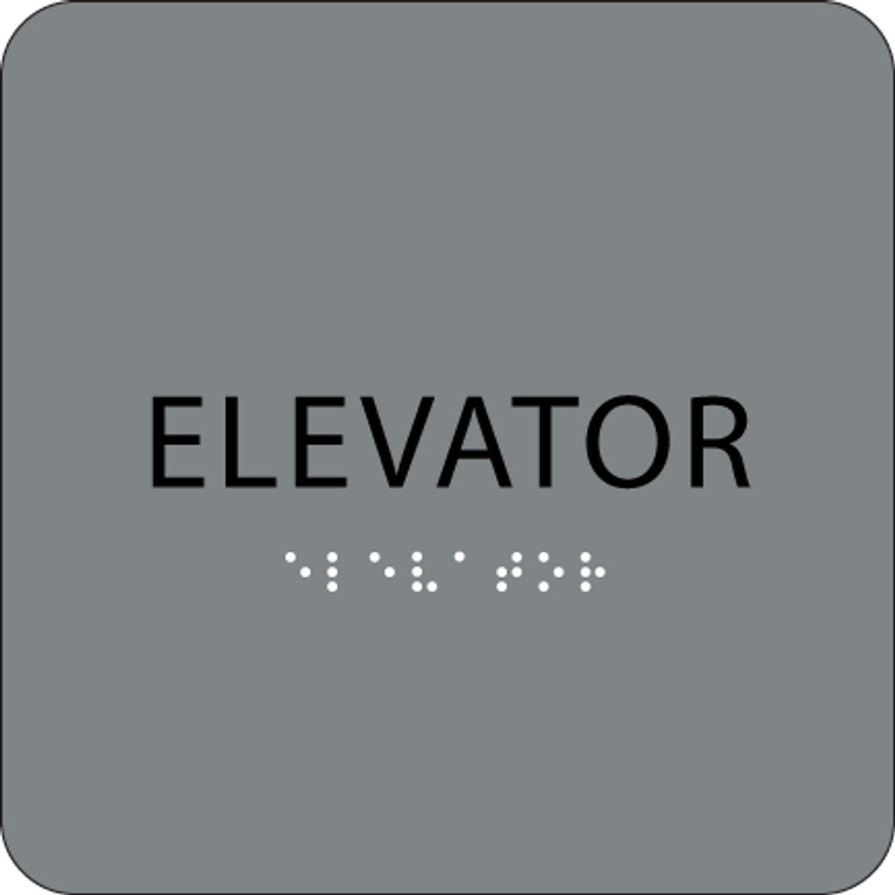 Grey Tactile Elevator Sign