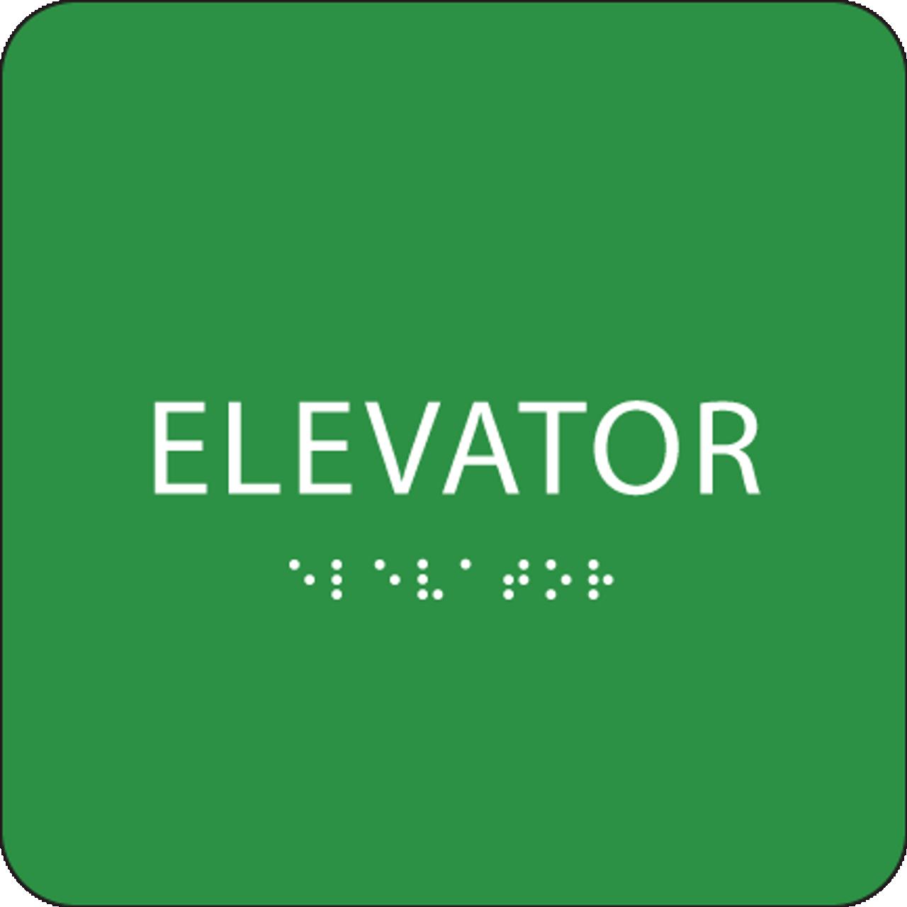 Green Braille Elevator Sign