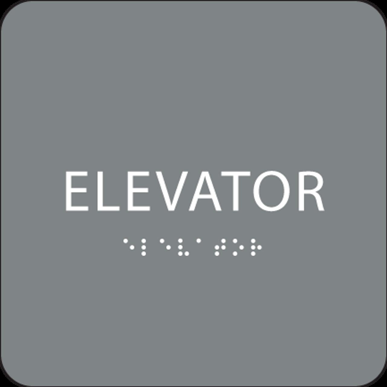 Grey ADA Elevator Sign