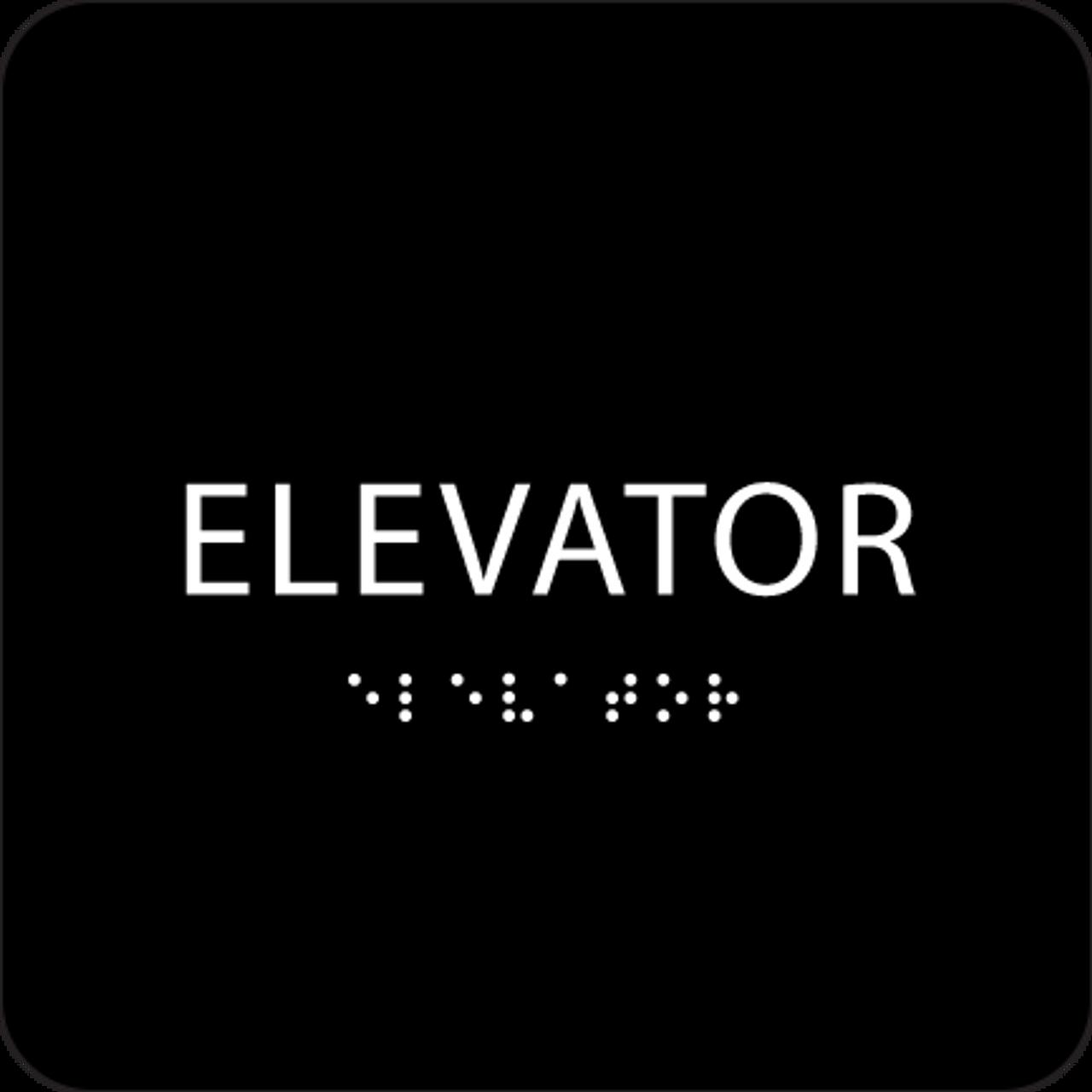 Black ADA Elevator Sign