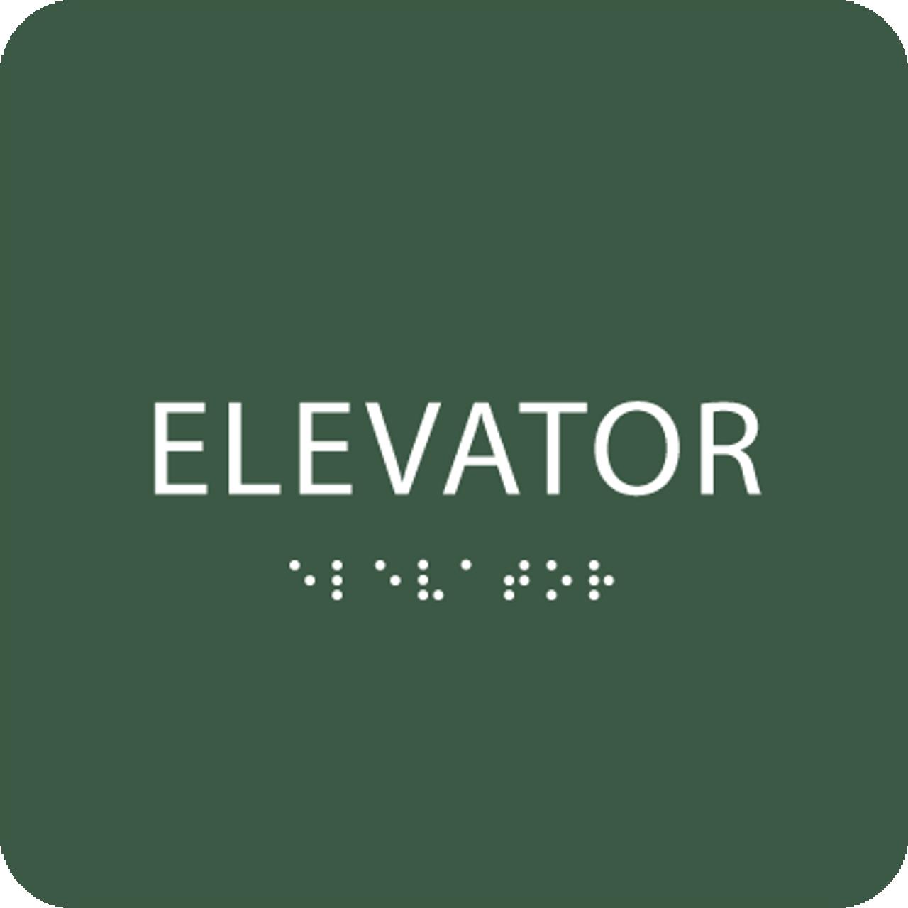 Green ADA Elevator Sign