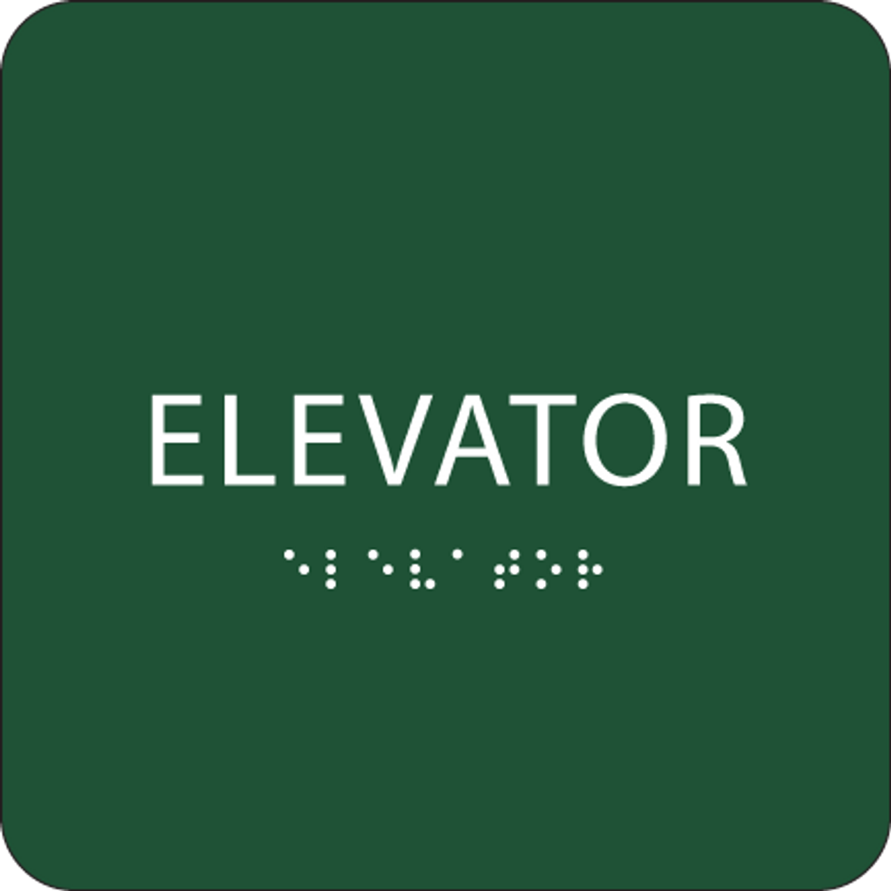 Green Tactile Elevator Sign