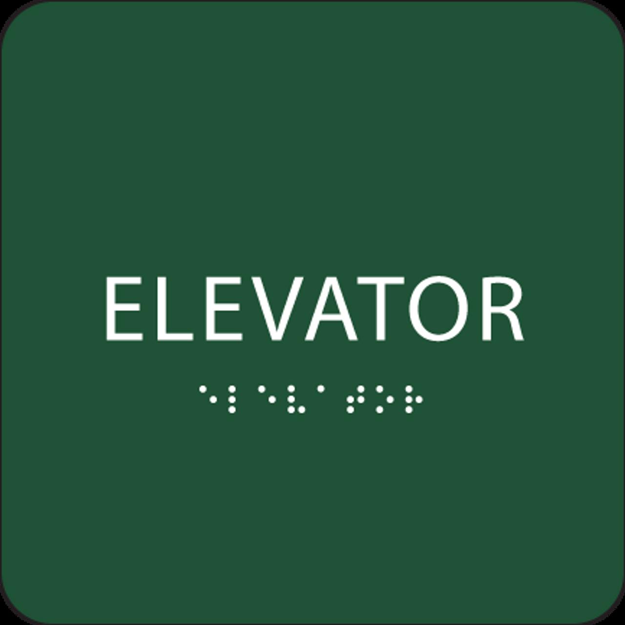 Green Tactile Elevator Sign