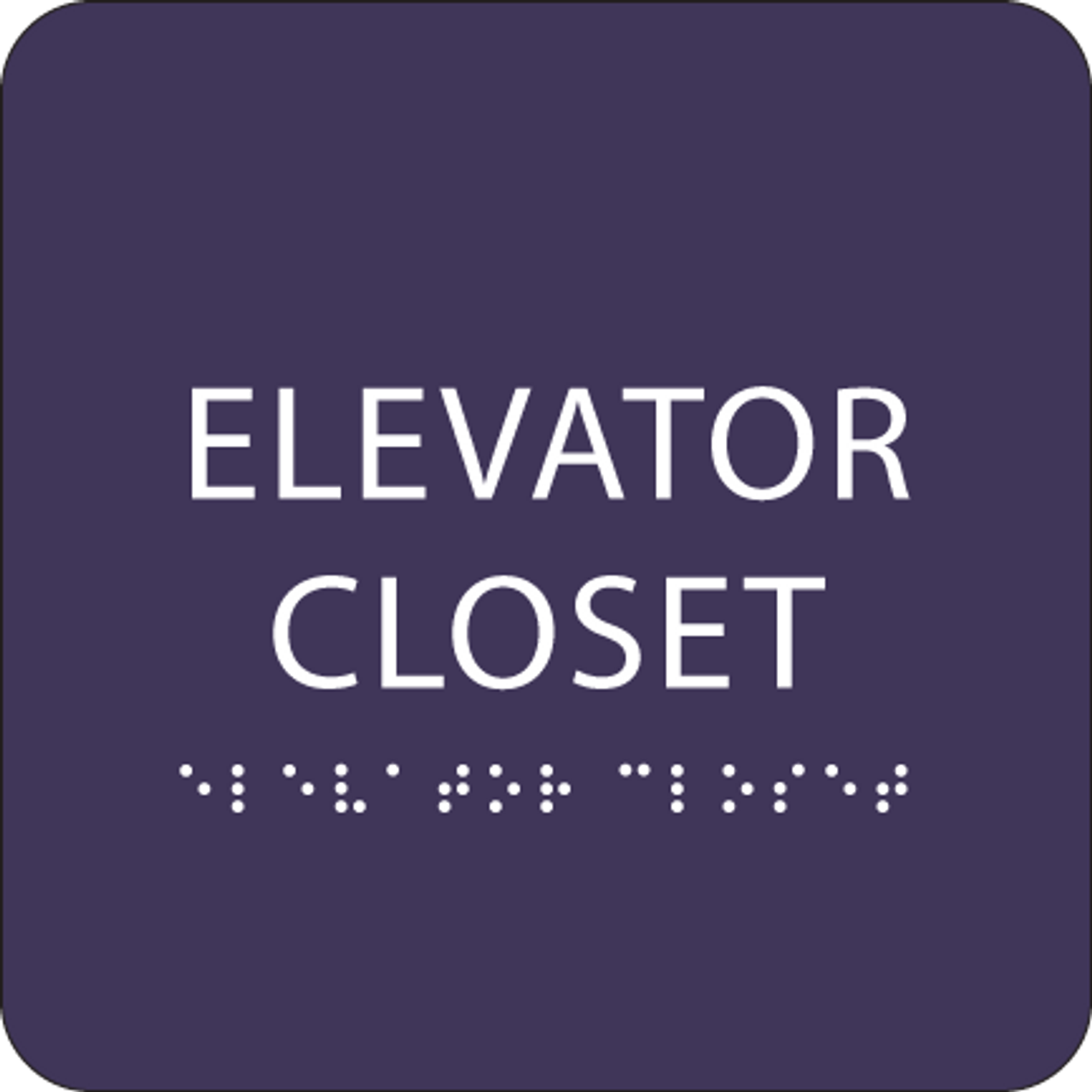 Purple ADA Elevator Closet Sign