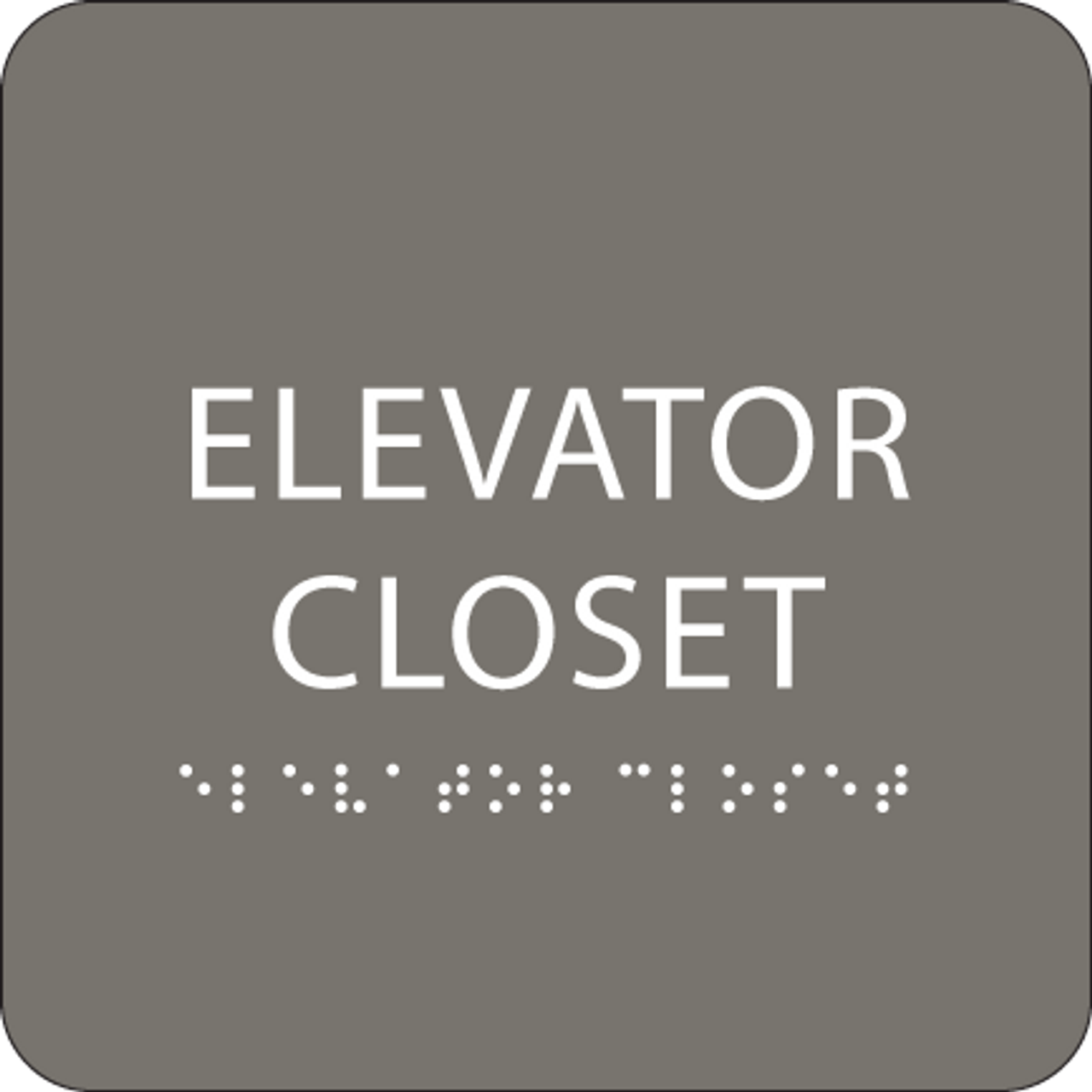 Dark Grey ADA Elevator Closet Sign
