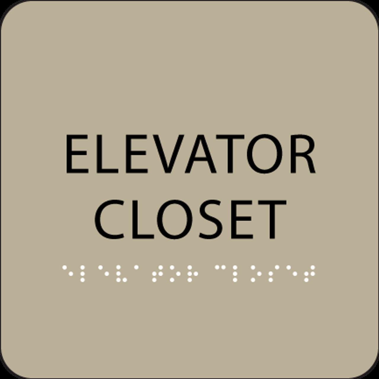 Brown ADA Elevator Closet Sign