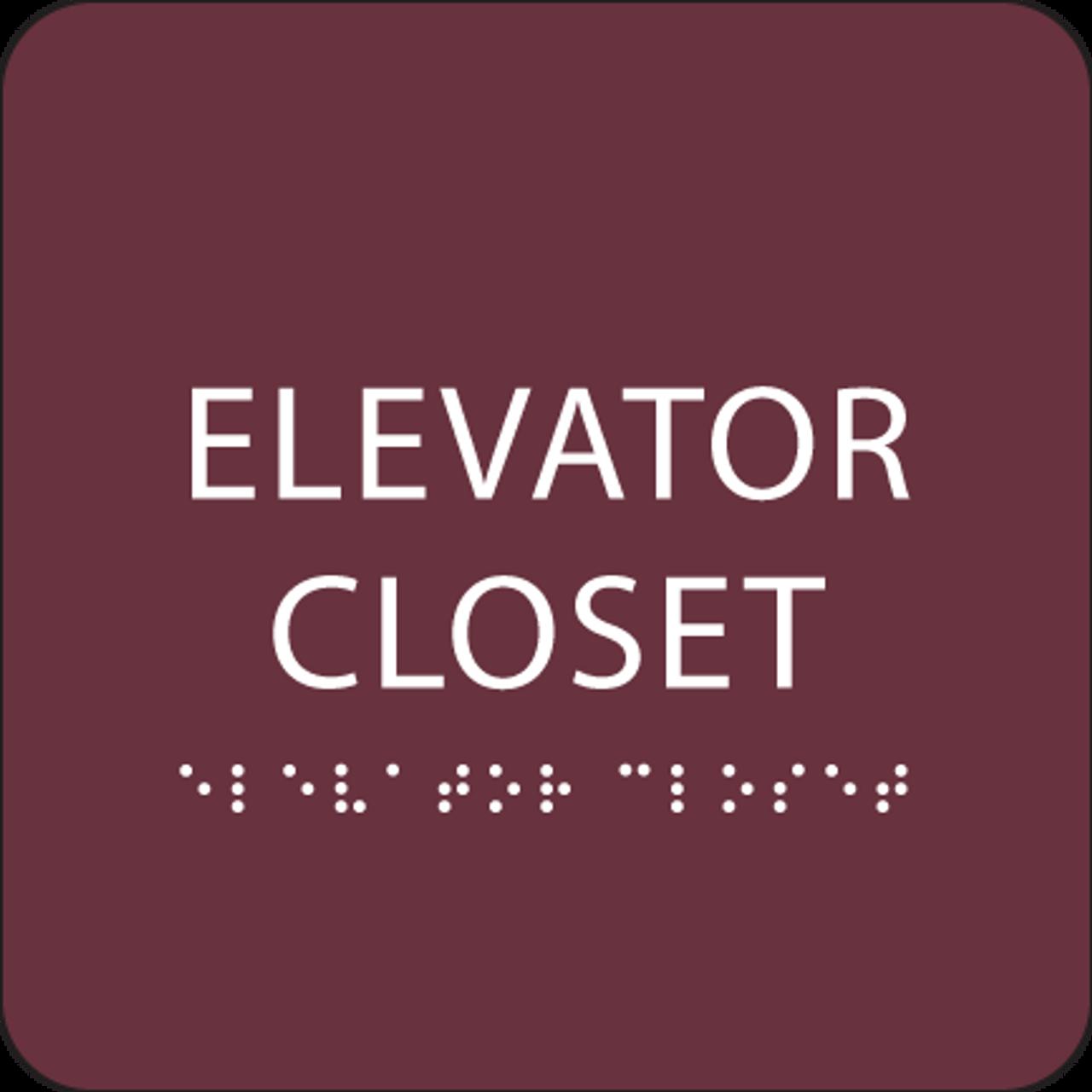 Burgundy ADA Elevator Closet Sign