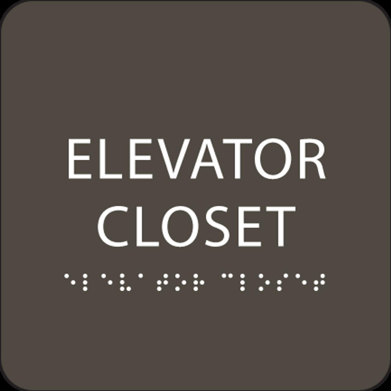 "Elevator Closet ADA Sign - 6"" x 6"""