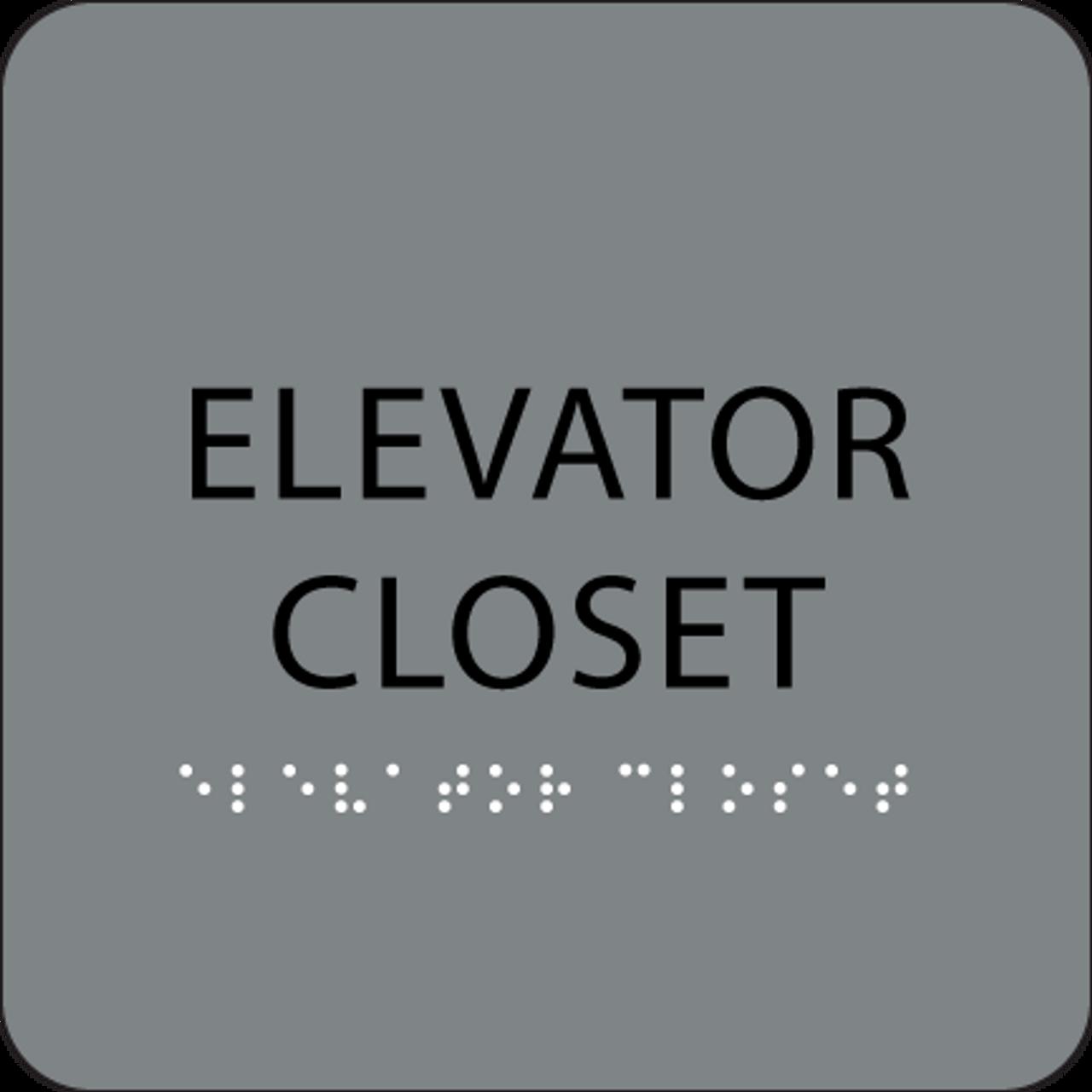 Grey ADA Elevator Closet Sign