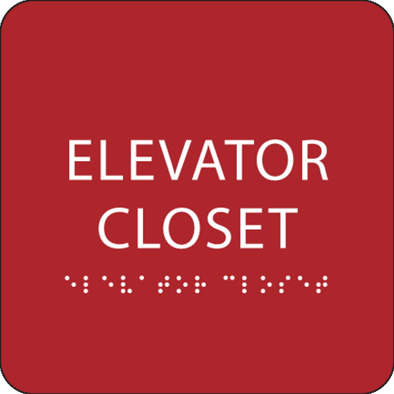 Red ADA Elevator Closet Sign