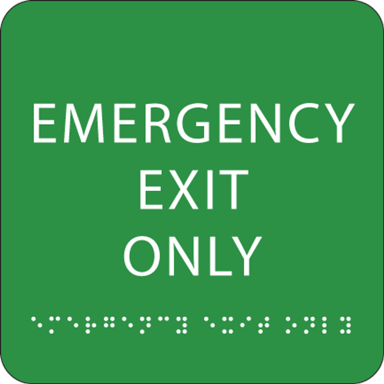 Green Emergency Exit Only ADA Sign