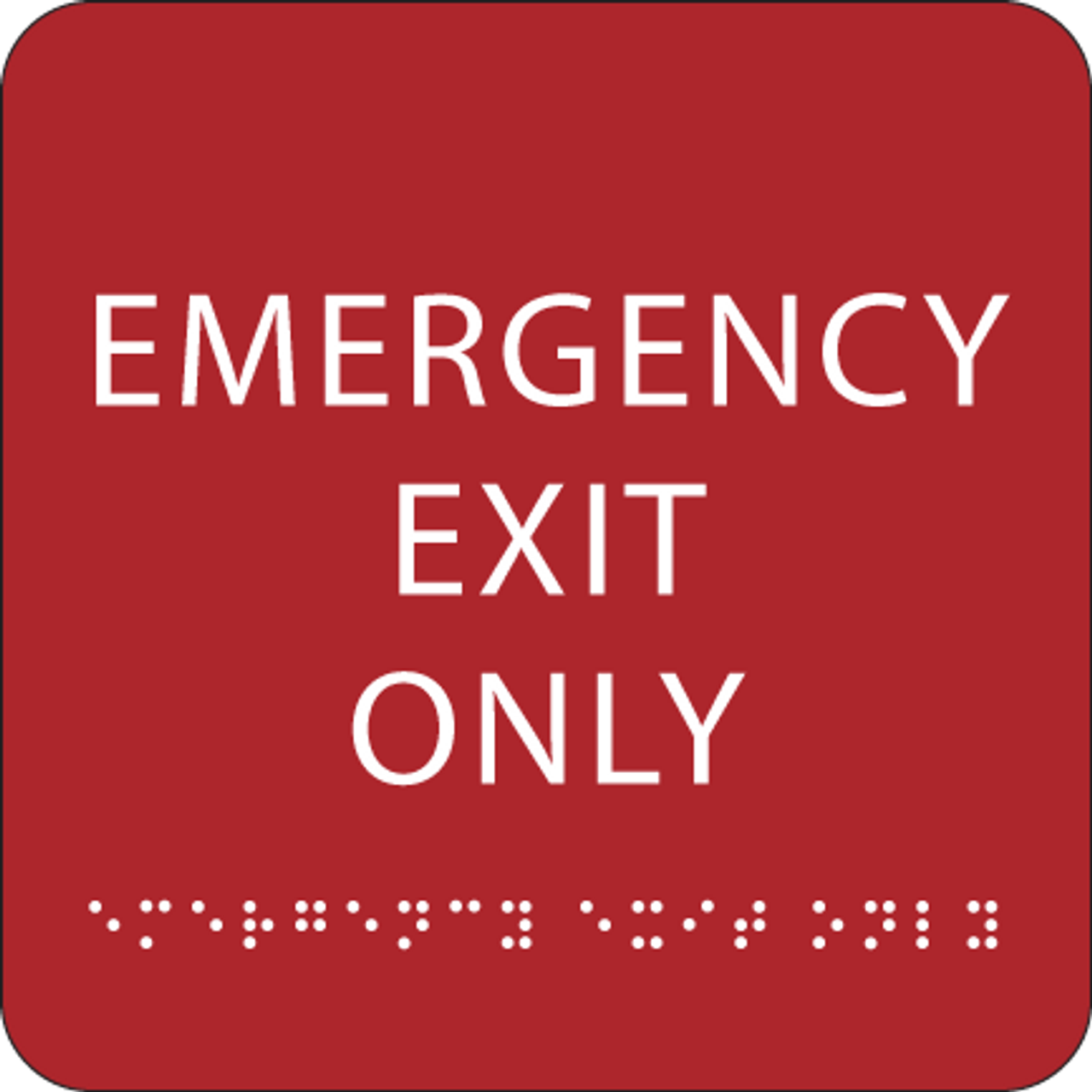 Red Emergency Exit Only ADA Sign
